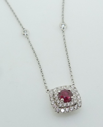 0.29ct 14K White Gold Ruby Halo Necklace