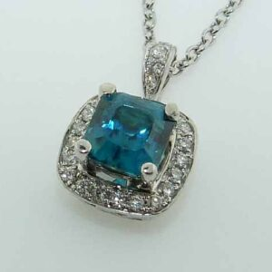 2.18ct 18K White Gold Cushion Cut Blue Zircon Halo Pendant