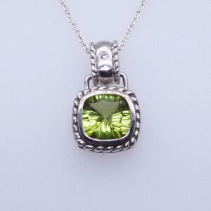 1.98ct 14K White Gold Cushion Cut Peridot Pendant