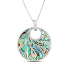 14 karat white Venus II pendant by Frederic Sage featuring abalone and accented with diamonds.