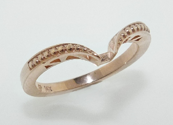 14 K Rose gold custom wedding band to match 200-10-878788 with milgrain and profile cutout details by Studio Tzela.