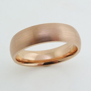 14K Rose gold tiffany style domed comfort fit men's 6mm wide band with stainless brushed finish.