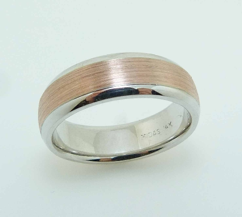 14 Karat rose & white gold 6.5mm flat band with a polished white gold edges and a stainless finished rose gold centre.