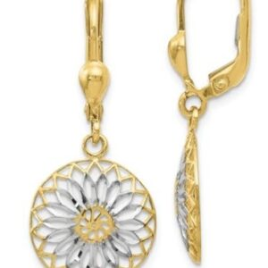 .10 karat yellow gold and rhodium modern design leverback earrings.