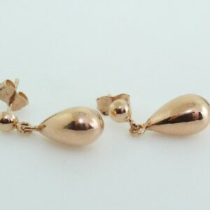 14 karat rose gold drop stud earrings.