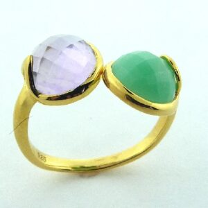 Sterling silver ring set with an amethyst and a chrysoprase.