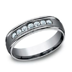 Men's tantalum alternative metal domed band with 7 lab created diamonds, 0.42cttw, 6mm, size 10.