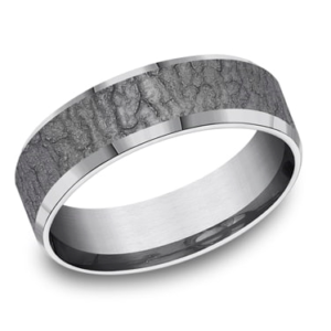 Tantalum 7 mm band with slight bevel edge and large bark texture by Benchmark.