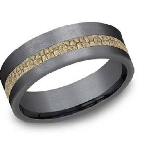 Black tantalum men's band with 14K textured yellow gold inlay two-tone men's alternative metal pipestyle band, 7mm wide, size 10.