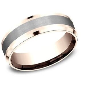 14K polished rose gold with a black titanium inlay two-tone men's alternative metal pipestyle band, 7mm wide, size 10.