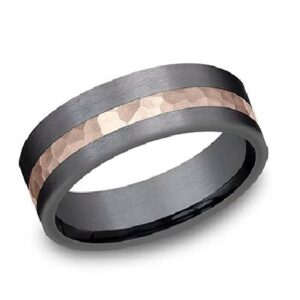 14K hammered rose gold and darkened tantalum asymmetrical two-tone men's alternative metal pipestyle band, 7mm wide, size 10.