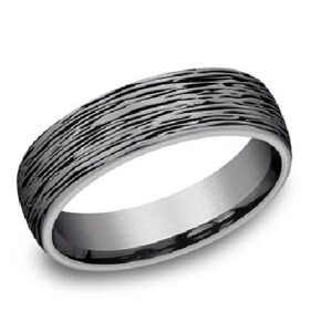 Men's tantalum alternative metal domed band with horizontal treebark texture, 6.5mm, size 10.