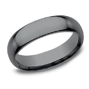 Men's tantalum alternative metal domed band with polish finished, 6.5mm, size 10.