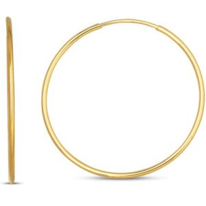 14 karat yellow gold 13mm endless hoop earrings.
