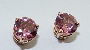 14 karat rose gold 3 prong stud earrings set with 2 = 1.11ctw pink spinel.