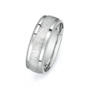 14K White gold men's domed band with polished and textured centre and milgrain accents on the edges.