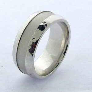 14K White gold men's band with hammered high polish edges and matte finished center, size 10 & 9mm wide.