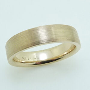 14KY Men's 5mm pipestyle, comfort fit stainless finish gold band. This ring is available in 14K/18K white, yellow or rose gold and platinum and in any width or finish.
