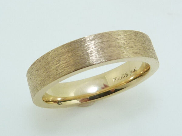 14KY Men's 5mm pipestyle, comfort fit textured finish gold band. This ring is available in 14K/18K white, yellow or rose gold and platinum and in any width or finish.