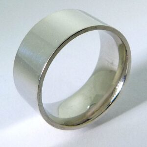 14K White gold pipe style (flat) polished band 10mm size 10.