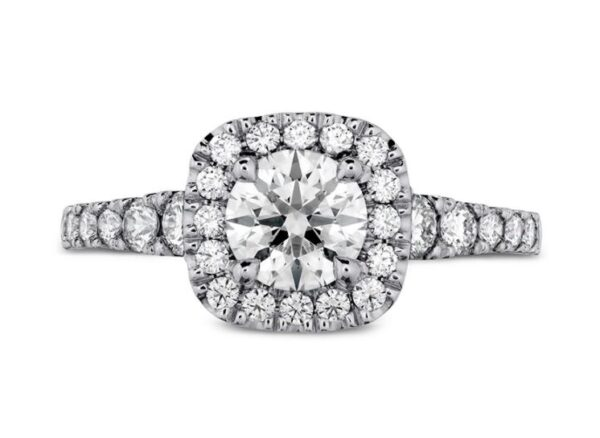 18kw Transcend engagement ring by Hearts On Fire set with one 0.544ct I, VS2 ideal cut, round brilliant cut Hearts On Fire diamond and accented on the halo and sides with 0.191cttw, G/H, VS-SI round brilliant cut diamonds
