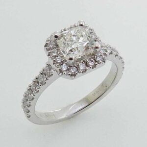 14K White gold engagement ring with set with a FireCushion Brilliant cut cushion cut diamond, 0.76ct, I, VS2, GIA graded.