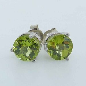 14K white gold three prong stud earrings set with 2 round Peridot, 1.72ctw.