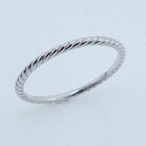 14K white gold rope design lady's band.