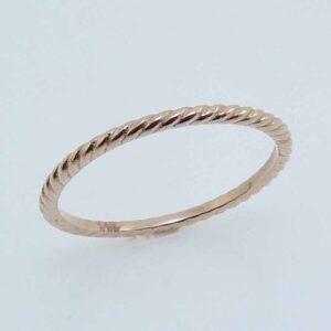 14K rose gold rope design lady's band.