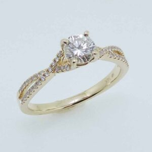 14K Yellow gold engagement ring set with a good cut, 0.43ct round brilliant cut diamond, I, SI2 and 48 round brilliant cut diamonds, 0.14cttw, H/I, SI2-I1