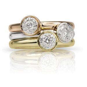 14KW 0.15cttw stacking solitaire look bezel set cluster ring, G/H, SI very good - excellent cut diamonds.