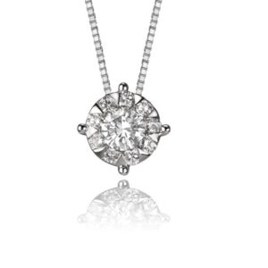 """14KW """"0.75ct look"""" 0.26cttw bouquet slider pendant with chain"""