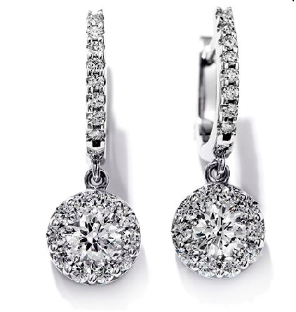 18k white gold Fulfillment Drop earrings by Hearts On Fire.  These earrings are set with 1.15cttw I/J, VS-SI ideal cut round brilliant cut diamonds.