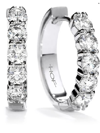 18k white gold Mini Hoop earrings by Hearts On Fire. These earrings are set with 0.62cttw G/H, VS-SI ideal cut round brilliant cut diamonds.