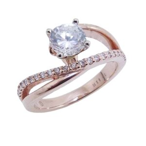 14K Rose and white gold bypass split shank engagement ring claw set in the centre with a 0.75ct CZ and on the band with 23 claw set round brilliant cut diamonds, 0.17cttw, G/H, SI, VG cut. Priced without a center gemstone. Let us find you the perfect center that fits your tastes and budget!