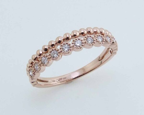 14K Rose gold stackable illusion band set with 0.16cttw, G/H, SI very good cut round brilliant cut diamonds.