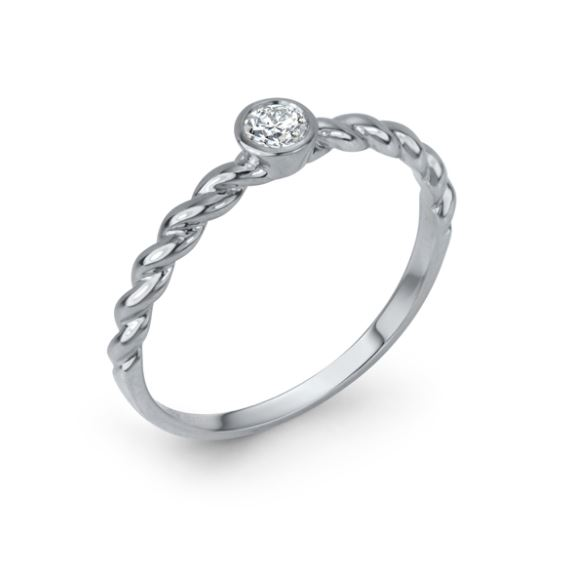 14k white gold twist band bezel set with a 0.12cttw G/H, SI, very good cut diamond band.