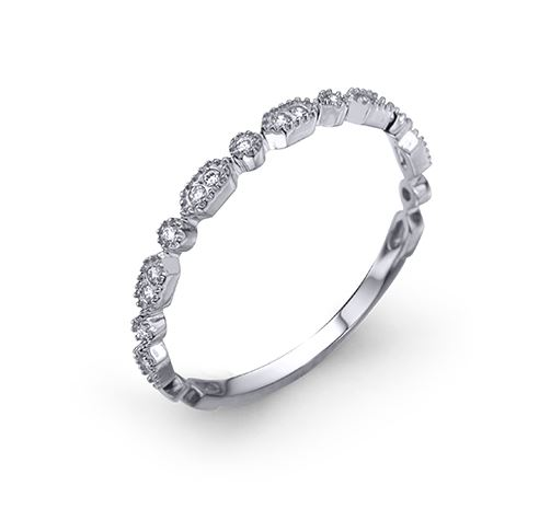 14k white gold band set with 0.08cttw G/H, SI, very good cut round brilliant cut diamonds.