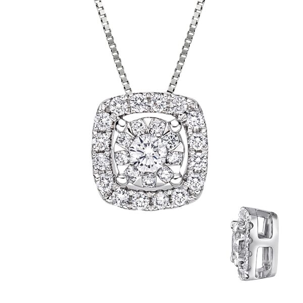 """14k white gold bouquet style pendant set with 0.33cttw G/H, SI, round brilliant cut diamonds. This pendant comes with a 14k white gold 20"""" adjustable box chain."""