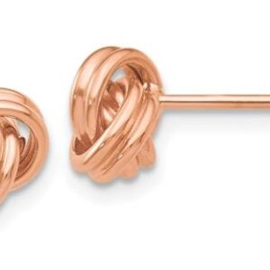 14 karat rose gold love knot stud earrings.