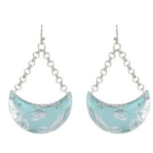 Turquoise Crescent earrings by Evocateur. These stunning earrings feature silver leaf.
