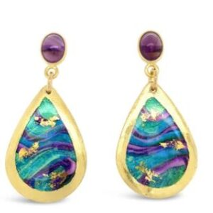 Abalone mini teardrop earrings with amethyst by Evocateur. These stunning earrings feature gold leaf.