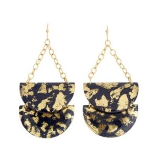 Turquoise Butterfly wing large teardrop earrings by Evocateur. These stunning earrings feature gold leaf.