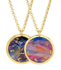 """Morning run/enchanted double sided 1.5"""" round Evocateur pendant on 17"""" chain."""