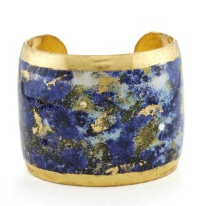 """Lapis 2"""" medium cuff by Evocateur. This stunning cuff features gold leaf."""