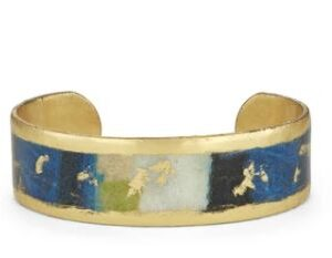 """Berlin/Berlin 0.75"""" large bangle by Evocateur. This stunning cuff features gold leaf."""