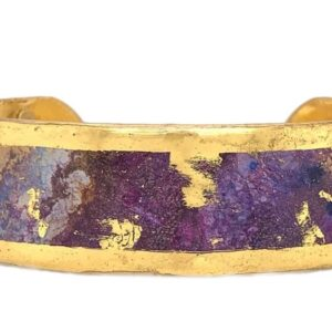 """Enchanted 1"""" large cuff by Evocateur. This stunning cuff features gold leaf."""