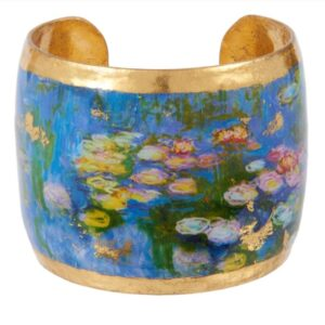 """2"""" Monet Water Lillies large cuff by Evocateur. This stunning cuff features gold leaf."""