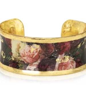 "1"" Roses Corset large cuff by Evocateur.  This stunning cuff features gold leaf."