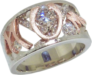 Combination Rose and White Gold MOM Ring